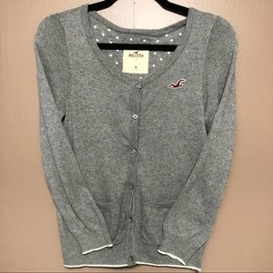 Hollister • Gray/White • Cardigan • Medium